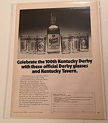 1974 Kentucky Tavern Whisky Kentucky Derby Glasses Magazine Print Advertisement