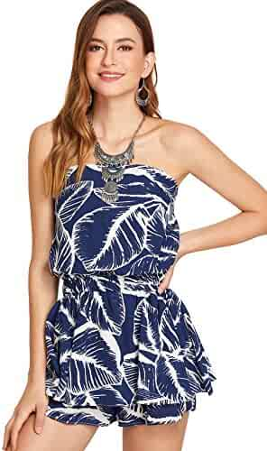 7e8c45883f16 Romwe Women s Overall Leaf Graphic Print Ruffle Hem Tube Off Shoulder Short Romper  Jumpsuit