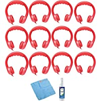 Hamilton Buhl Flex-Phones, Foam Headphones, Red (12 pack) & Accessory Kit