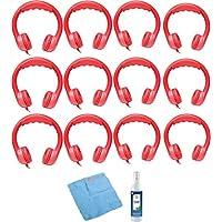 Hamilton Buhl Flex-Phones, Foam Kids Headphones & Cleaning Kit (12-Pack, Red)