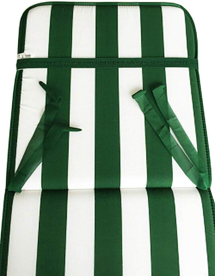 ARREDIAMOINSIEME-nelweb Cuscino Copri Sedia Esterno Universale Morbido A Righe Pieghevole Tessuto Cotone per Piscina Mare Giardino MOD.Capri FASCIATO Verde