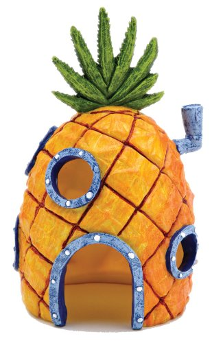 Fish Training - Nickelodeon SpongeBob SquarePants Small 6 Inch Pineapple House Aquarium Ornament from Penn Plax – Durable Resin Safe for All Fish