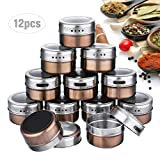 12 Pcs Spice Jar Stainless Steel Magnetic Spice Tins Set Spice Organizer Condiment
