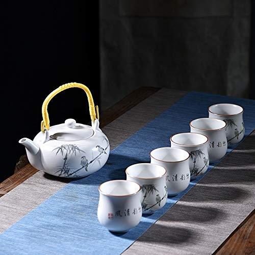 Home&garden accessories 7 PCS Ceramic Kungfu Teaware Beam-lifting Teapot Teacup Set, Pattern:Cool Breeze Cool breeze by JIANGHONGYAN