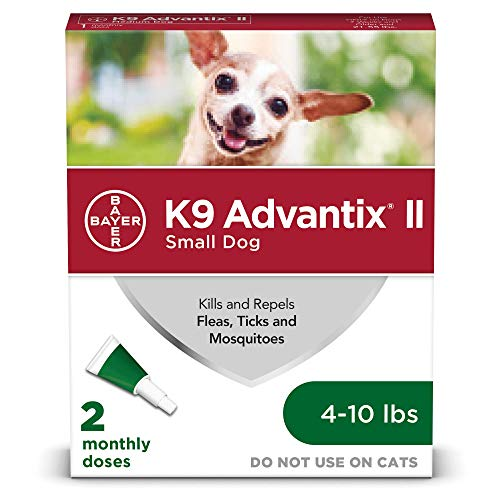 (Bayer K9 Advantix II Flea, Tick and Mosquito Prevention for Small Dogs, 4 - 10 lb, 2 doses)