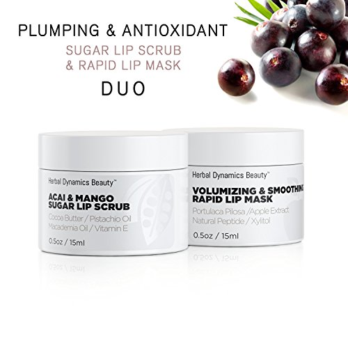 Antioxidant Sugar Lip Scrub and Rapid Lip Mask Duo, for Hydrating Dry Lips, Volumizing and Antiaging with Acai, Mango Butter, and Apple Extract ()