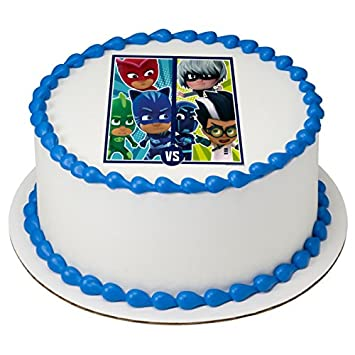 Image Unavailable Not Available For Color PJ Masks Versus Licensed Edible 8quot Round Cake Topper