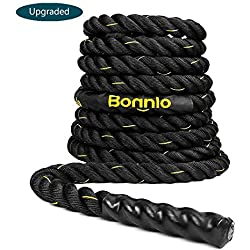 "Bonnlo Exercise Rope 1.5""/ 2"" Width Poly Dacron 30/40/50ft Length, Battle Rope Workout Training Undulation Rope Fitness Rope Climbing Rope (2"" x50Ft Length)"