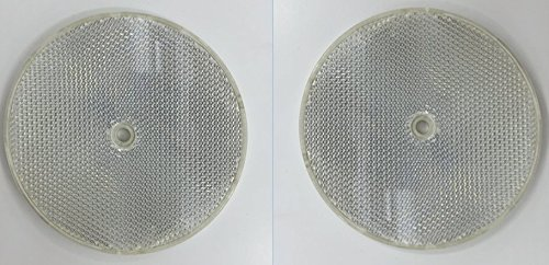 4 Clear Round Front Reflector White Pack of 2 for Trailers Fence Gate Posts