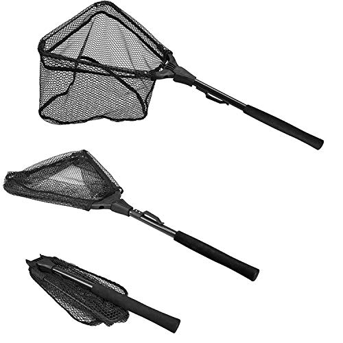 PLUSINNO Fishing Net Fish Landing Net, Foldable Collapsible Telescopic Pole Handle, Durable Nylon Material Mesh, Safe Fish Catching or Releasing (12