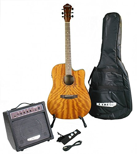 KEYTONE Guitarra Western Set Deluxe caoba & Amplificador y accesorios