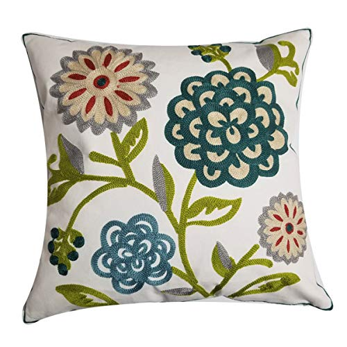 Orange Elephant Hand Made National Embroidered Cotton Throw Pillow Cover Decor Sofa Cushion Cover Pillow Case 18x18 (Sun Flower)