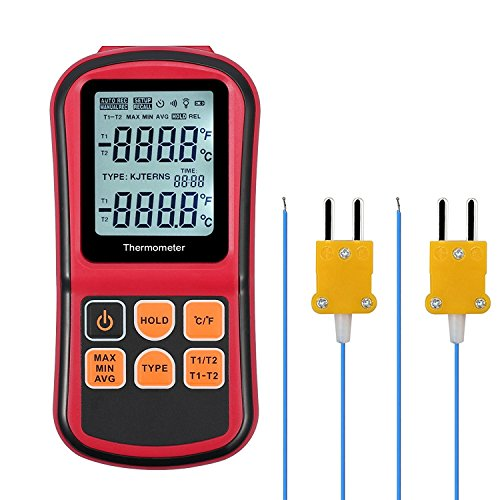 Kamtop Digital Thermometer Dual Channel Thermometer with Two K- type Thermocouples Temperature Meter with LCD Backlight for K/ J/ T/ E/ R/ S/ N Thermocouple (Best Type Of Thermometer)