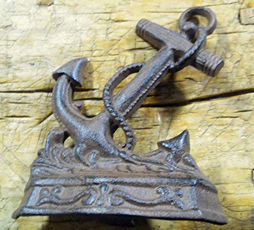 - Nautical Anchor Doorstop Garden Statue Book End Vintage Cast Iron Supplies for Home Decor by CharmingSS