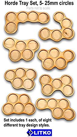 5 in each tray Bolt Action 8 Olympic Shape Movement Trays for 25mm Round Bases