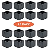 Chair Leg Covers for Hardwood Floors Chair Leg Floor Protectors, WarmHut 16pcs Black Silicone Table Furniture Leg Feet Tips Covers Caps, Felt Pads, Prevent Scratches, Wood Floor Protector (Square)(Black)