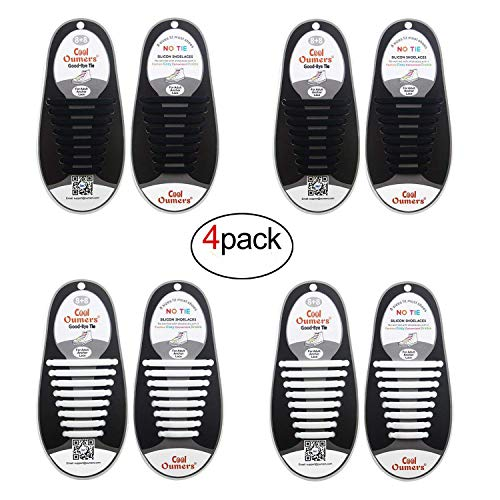 Oumers 4 Pairs No Tie Shoelaces for Adults, Lazy Tieless Silicone Shoelaces Rubber Sneaker Shoelaces(2 Pairs Black + 2 Pairs White)