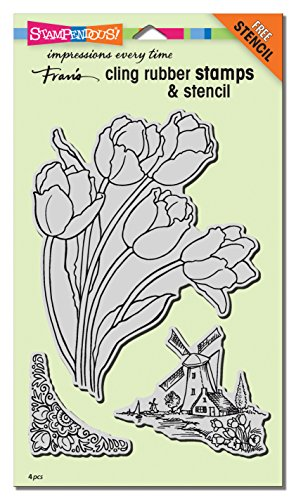 STAMPENDOUS Cling Rubber Stamp Set, Dutch Tulips W/Template