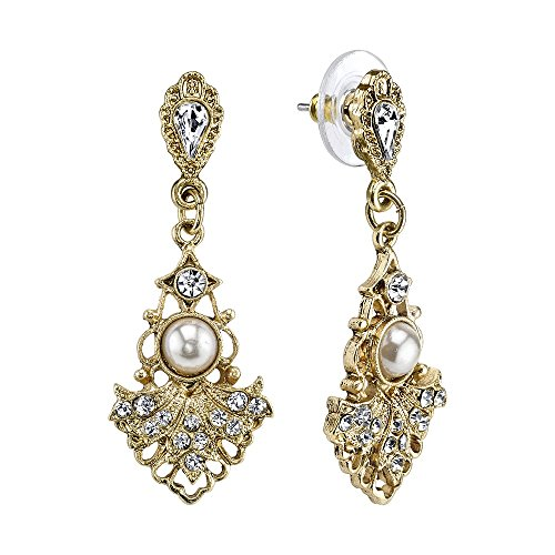 Downton Abbey Gilded Age Gold-Tone Crystal-Studded Fan Earrings with Faux Pearls