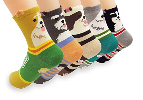 (V28 Women's Cute Owl Various Pattern Mixed Color Soft Socks (One Size, 5 Mixed)