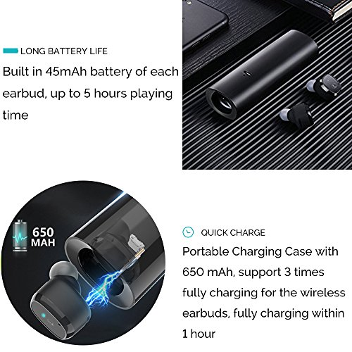 Wireless Earbuds, OYRGCIK Bluetooth Headphones 5.0 Mini Stereo Headset Build-in Mic, in-Ear Sports Sweatproof Earphones with Charging Case for iPhone X XS Max 8 Plus Samsung Galaxy S10 S9 Smartphones