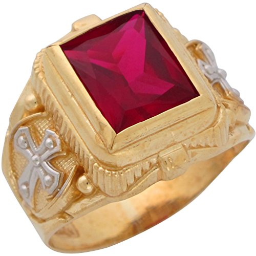 10k Two-Tone Gold Mens Wide Simulated Rectangle Ruby July Religious Ring ()