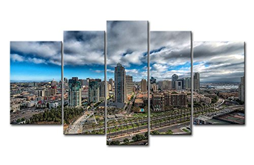 So Crazy Art 5 Piece Wall Art Painting San Diego Cityscape Prints On Canvas The Picture City Pictures Oil For Home Modern Decoration Print Decor For Girls Bedroom