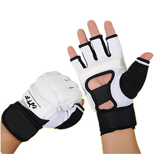 Lorsoul Taekwondo Gloves WTF Training Martial Arts Boxing Sparring TKD Punch Bag Mitts MMA Grappling Karate Fighting Gym Gear PU Leather Wrist Wraps Gloves for Men Women Kids (Medium, (Leather Wrap Mma Gloves)