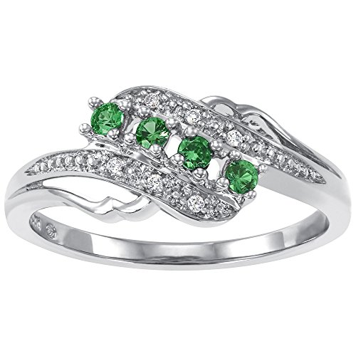 Emerald Gemstone Heart (ArtCarved Angel Heart Simulated Emerald May Birthstone Ring, Sterling Silver, Size 6)