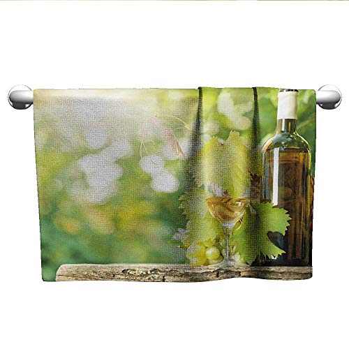 - Flowered Wine,White Wine Bottle Glass Young Vine and Bunch of Grapes in Green Spring,Pale Green Yellow Brown,Hooded Towel for Toddler boy