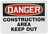 """Accuform MADM014VA Aluminum Safety Sign, Legend """"DANGER CONSTRUCTION AREA KEEP OUT"""", 10"""" Length x 14"""" Width, Red/Black on White"""