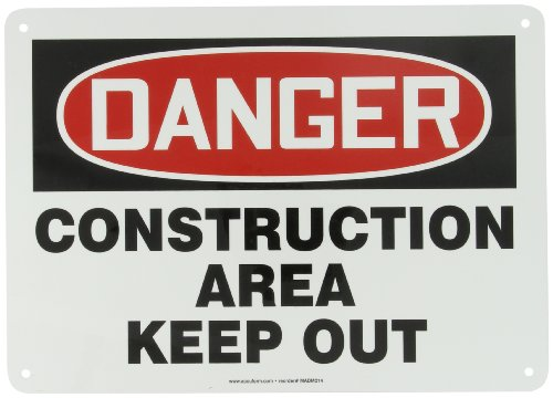 "Accuform MADM014VA Aluminum Safety Sign, Legend ""DANGER CONSTRUCTION AREA KEEP OUT"", 10"" Length x 14"" Width, Red/Black on White"