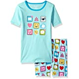 The Children's Place Toddler Girls' Short Sleeve Pajama Set, Iced Mint, 16