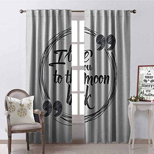 (GloriaJohnson I Love You Shading Insulated Curtain Birthday Celebration Valentines Party Calligraphy with Emotional Expressions Soundproof Shade W52 x L72 Inch Grey White )