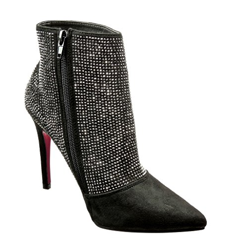 Angkorly - Chaussure Mode Bottine sexy femme strass diamant Talon haut aiguille 10 CM - Argent