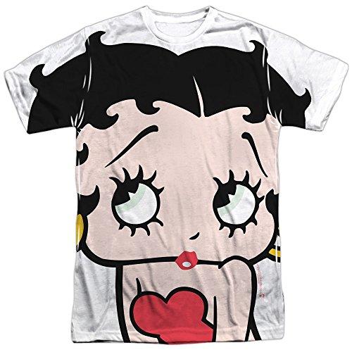 (Betty Boop Big Betty Boop Head (Front Back Print) Mens Sublimation Shirt LG )