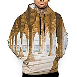 Unisex 3d Novelty Hoodies Pillar Historical Theme Gallery Of Pillars At Agra Fort Ethnic Digital Image Pale Coffee And Beige Sweatshirts For Women Plus Size