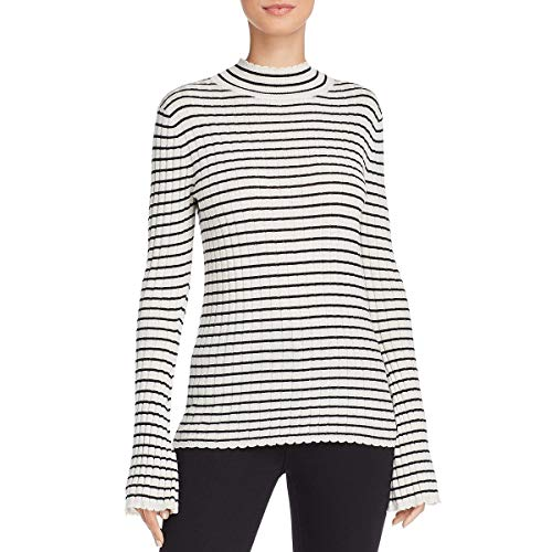 Joie Womens Gestina Rib Knit Striped Mock Sweater White M (Joie Striped Sweater)