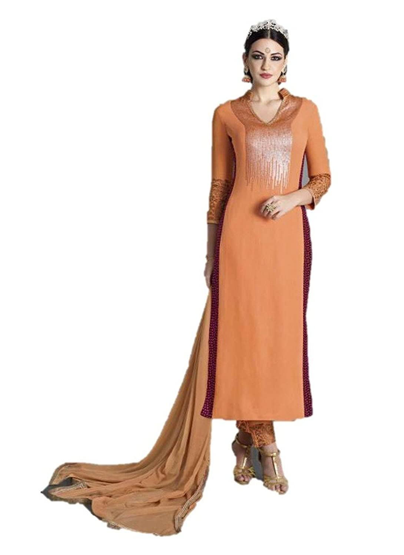 EthnicWear Designer Best Selling Orange Georgette Salwar Suit Dress