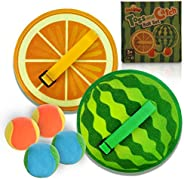 Demilong Toss and Catch Game Set, Paddle Ball Game Set with 4 Balls and Watermelon and Orange Rackets, Suitabl