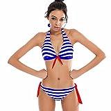 Mnyycxen Womens Striped Low Waist Thong Bikini Set Tie Knot Front Beachwear Two Piece Swimsuit Blue