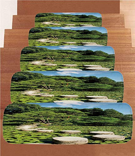 """iPrint Coral Fleece Stair Treads,Zen,Stone Path in Japanese Garden Lake with Lotus Leaves Meditation Nature Scenery Decorative,Lime Green Sky Blue,(Set of 5) 8.6""""x27.5"""" from iPrint"""