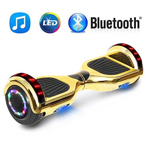NHT 6.5″ Chrome Hoverboard Electric Smart Self Balancing Scooter with Bluetooth Speaker & Sidelights – UL2272 Certified, Chrome Gold