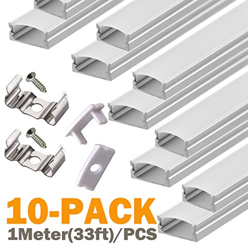 U-channel Mounting (LED Aluminum Channel U-Shape - for LED Strip Lights Mounting, StarlandLed 10x1meter Led Channels and Diffusers with End Caps and Mounting Clips for LEDMO SMD2835 600LEDs Warm White Led Strip)