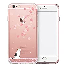 iPhone 6S Plus Case, SwiftBox Cute Cartoon Clear Case for iPhone 6/6S Plus (Cherry Blossom and White Cat)