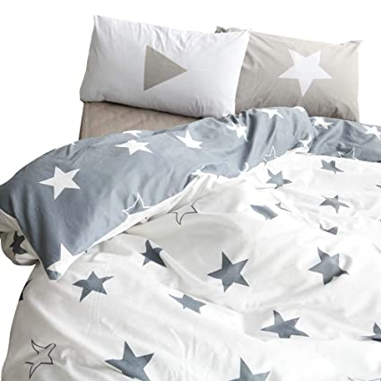 Beau BuLuTu Kids Bedroom Five Pointed Stars Reversible Cotton Kids Duvet Cover  Sets Twin Grey/