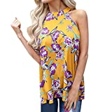 Womans Tops, ALOVEMO Women's Fashion Summer Flowers Hanging Neck Top T-Shirt Vest Top Yellow
