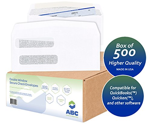 500 Check Envelopes, Double Window Security Confidential Tinted Envelopes for QuickBooks Checks, Business Laser Checks, 24 lb, 3-5/8 x 8-5/8-Inches, Box of 500 Envelopes - ABC Printing -