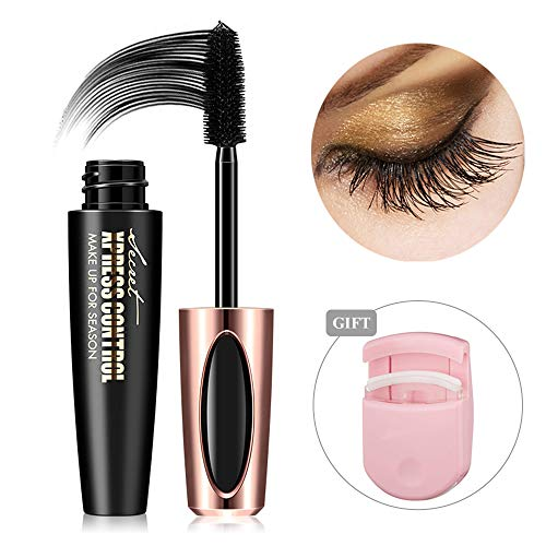 Natural 4D Silk Fiber Lash Mascara,Waterproof & Smudge-Proof, Luxuriously Longer, Thicker, Voluminous Eyelashes, Long-Lasting, All Day Exquisitely Lush,Non-Toxic Hypoallergenic Formula (Black)