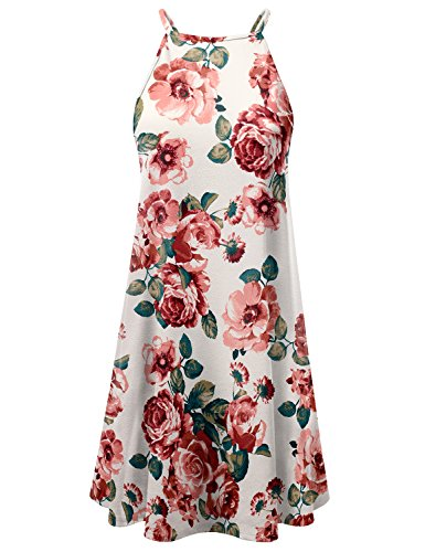Doublju Square Neck Halter Neck Swing Dress For Women With Plus Size (Made In USA) MAUVEROSE Large